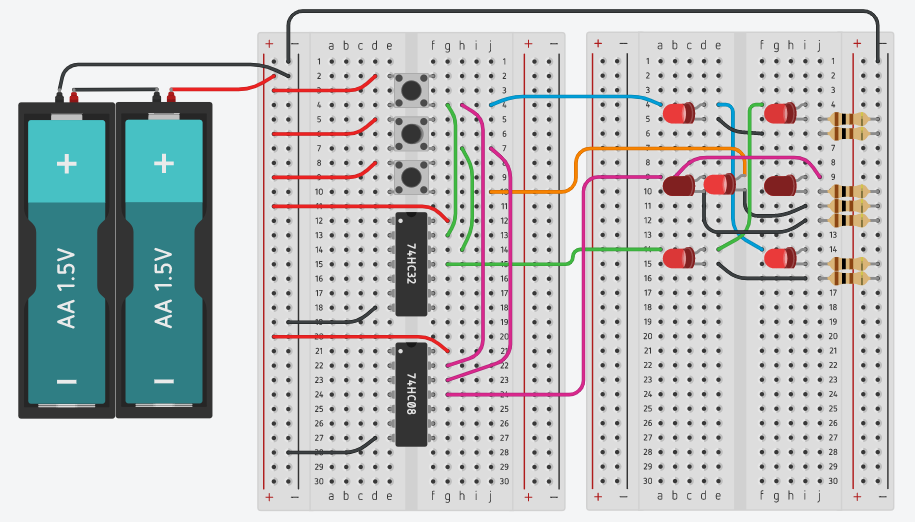 LED Dice - Electronic Circuit - Using AND and OR gates.