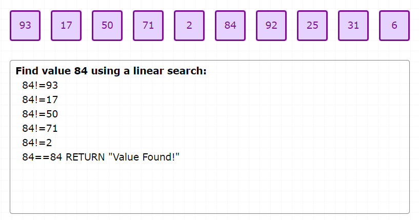 card-sort-linear-search