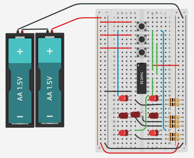 Electronic Dice Circuit (Incomplete circuit controlling LED 1,2,5and 6 only)