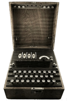 The Enigma machine was used in World War II to encrypt secret messages.