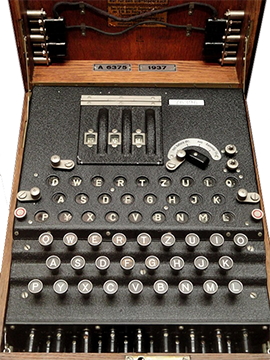 The enigma machine was used during World War II to encrypt secret messages.