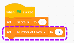 scratch-initialise-number-of-lives-variable