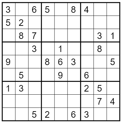 Using a Backtracking algorithm to solve a Sudoku Puzzle