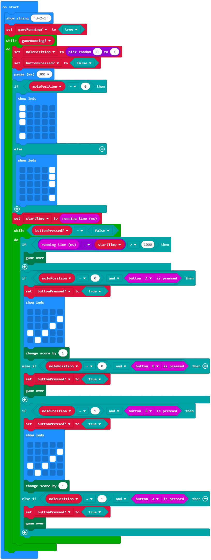 whack-a-mole-BBC-microbit-javascript-code